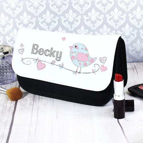 Personalised Floral Bird Make Up Bag